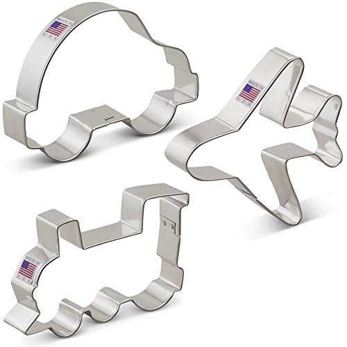 Transportation Cookie Cutter Set - 3 Piece - Airplane, Train Engine, and Car - Ann Clark Cookie Cutters - US Tin Plated Steel
