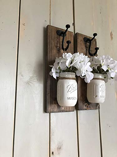 Rustic Wood Wall Sconce, Wood Wall Sconce with Flowers, Floral Wall Sconce Set, Mason Jar Wall Sconce - Cottage Garden Wall Vase