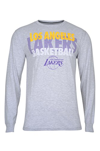 Nba Mens Los Angeles Lakers T Shirt Supreme Long Sleeve Pullover Tee Shirt  Large  Gray