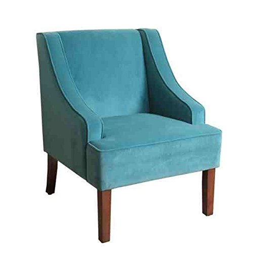 Homepop Swoop Arm Mid-tone Brown Finished Teal (Turquoise) in Rich Soft Touch Velvet Fabric Accent Chair