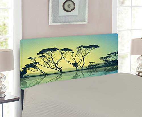 Ambesonne Tree Headboard for Twin Size Bed, Tree Silhouettes with Reflections on The Water Scenic National Park Countyside Print, Upholstered Metal Headboard for Bedroom Decor, Blue Yellow ()