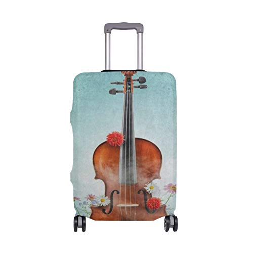 Suitcase Cover Classical Violin Music Daisy Flower Luggage Cover Travel Case Bag Protector for Kid Girls