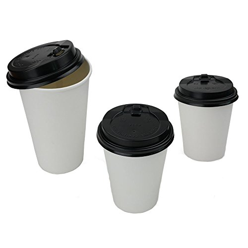 Cand 8 oz White Disposable Hot Paper Cups with Lids, Pack of 100 (Paper Coffee Cups 8 Oz Lids compare prices)