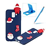 TPU Case for Samsung Galaxy A6 Plus 2018,Soft Rubber Cover for Samsung Galaxy A6 Plus 2018,Herzzer Ultra Slim Stylish 3D Christmas Santa Claus Series Design Scratch Resistant Shock Absorbing Flexible Silicone Back Case - Dark Blue