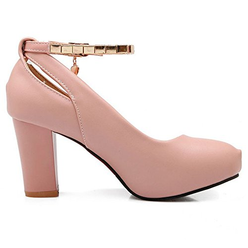 LongFengMa Women Ankle Strap Block Kitten Heel Shoes Classics Ladies Pumps Office Fashion Platform Shoes Pink floHkDY0N