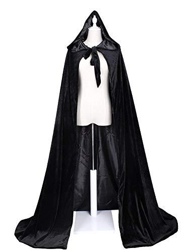 CYTCreation Black Velvet Medieval Cloak Cape Halloween Cloaks