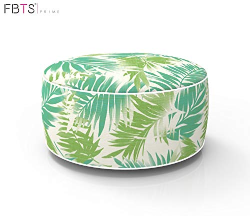 Outdoor Footstool - FBTS Prime Outdoor Inflatable Ottoman Light Green Leaf Round Patio Foot Stools and Ottomans Portable Travel Footstool Used for Outdoor Camping Home Yoga Foot Rest