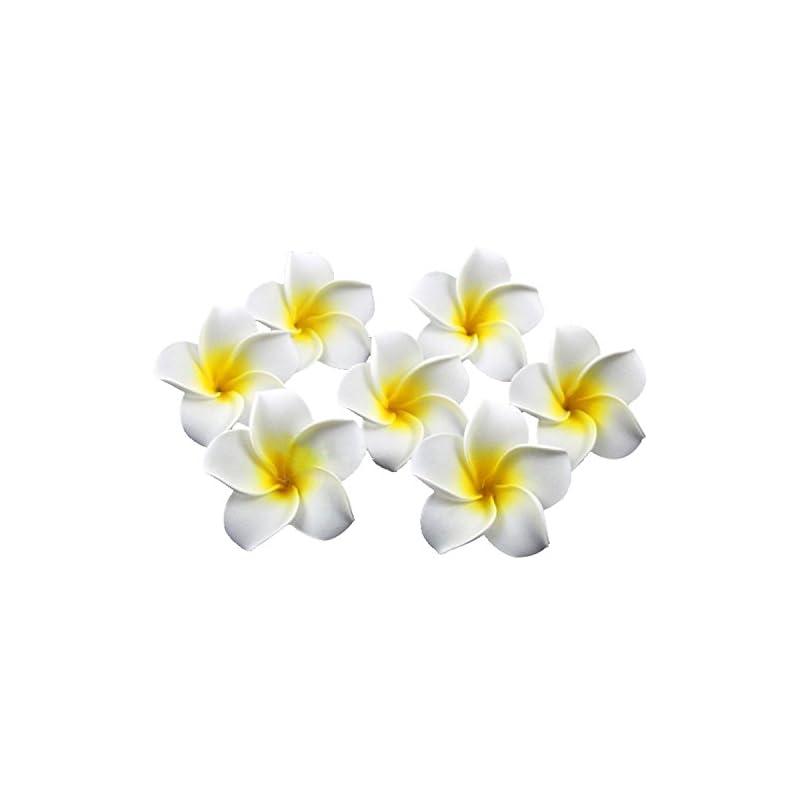 silk flower arrangements sealike 100 pcs diameter 2.4 inch artificial plumeria rubra hawaiian flower petals for wedding party decoration with stylus white