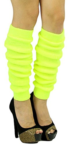 ToBeInStyle Women's Long Thigh Hi Separated Leg Warmers - One Size - Neon Yellow]()