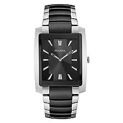 Bulova Mens 98A117 Quartz Black Dial Two-Tone Bracelet 39mm Watch (Renewed)