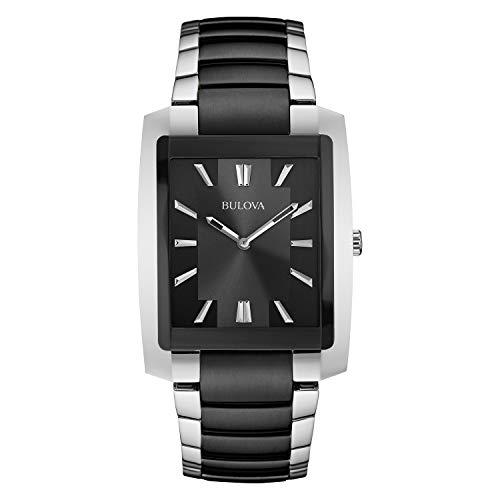 (Bulova Mens 98A117 Quartz Black Dial Two-Tone Bracelet 39mm Watch (Renewed))