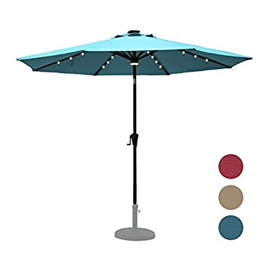 C-Hopetree 9' Octagonal Outdoor Auto Tilt Solar LED Patio Umbrella with Solar Rechargable 32 LEDs and 1 Central LED Hub Light, 250 gsm Fade Resistant UV Protection Polyester, Blue