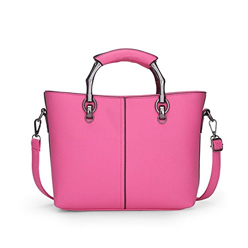 Piel sintética bolso de mano Mini bolso de hombro de la mujer mensajero bolsa Totes rosa (b)