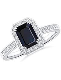 Emerald-Cut Blue Sapphire Engagement Ring with Diamond Halo (7x5mm Blue Sapphire)