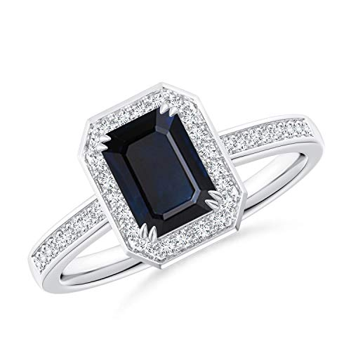 Emerald-Cut Blue Sapphire Engagement Ring with Diamond Halo in Platinum (7x5mm Blue Sapphire) -