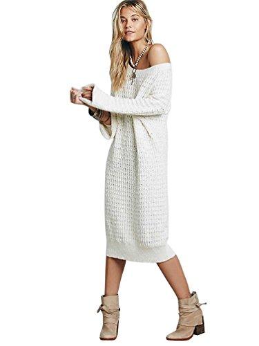 YOUJIA Baggy Vestido Jersey Largo de punto Color Sólido Pullover Sueter para mujer talla única Beige