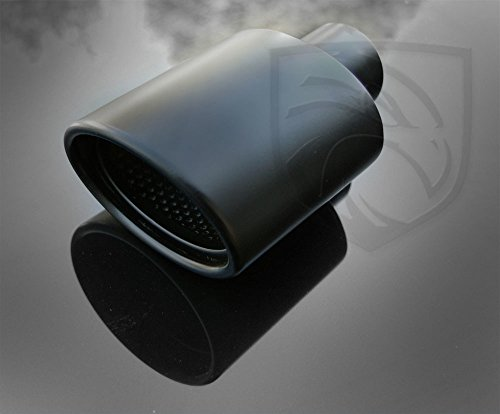 Black Powder Coated Exhaust Muffler Tip Oval Forward Slash Cut Double Wall Inter-cooled Rolled Edge Resonated 2