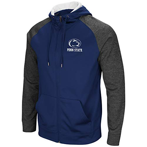 Colosseum Men's NCAA-Overtime- Poly-Fleece Full Zip Up Hoodie Sweatshirt-Penn State Nittany Lions-Large