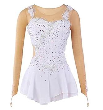 TT&Dress Vestido de Patinaje artístico Mujer Chica Vestido de Patinaje Sobre Hielo Blanco Licra Encaje Malla
