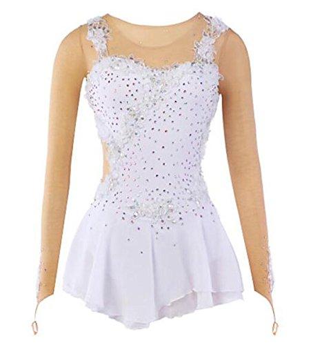 W& G(New Vestito da Pattinaggio Artistico per Donna da Ragazza Completo da Pattinaggio sul Ghiaccio Bianco Elastene di Pizzo Maglia Elevata