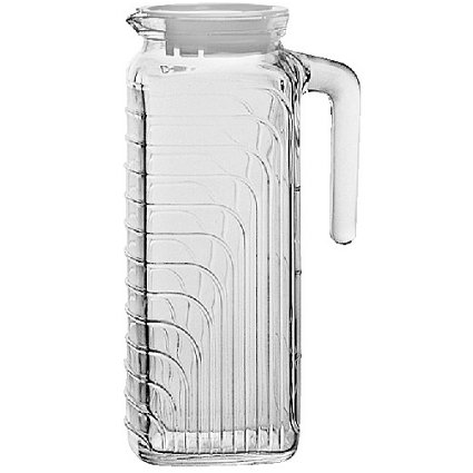 Bormioli Rocco Gelo Glass 1.2 Liter Jug with White Lid, Set of - White 2 Glass Milk