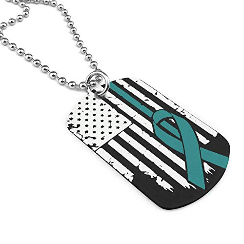 Hhill Swater USA Flag Ovarian Cancer Awareness Dog Tag Necklace, Jewelry for Men Or Women Zinc Alloy Military Necklace ()