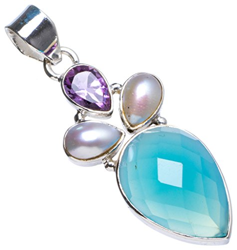 Natural Chalcedony,Biwa Pearl andAmethyst Handmade Unique 925 Sterling Silver Pendant 1.75