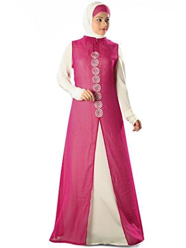 abaya amp; AY magenta formalen white amp; off MyBatua burqa Anlässe Kleid 311 islamischen nwP4q8nY