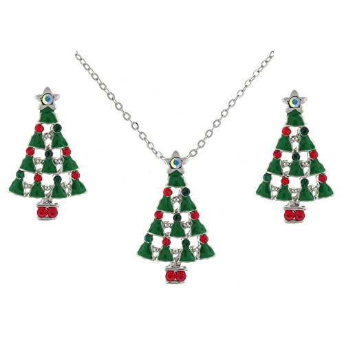 Green Enamel Christmas Tree (Green Enamel and Multi Crystal Christmas Tree Necklace and Earrings Set)