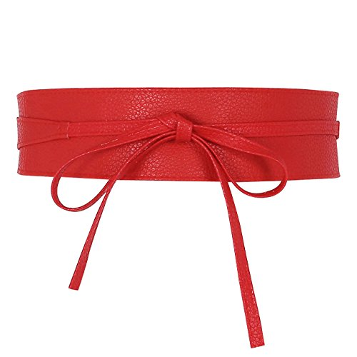 Ayliss Womens Soft PU Leather Cinch Belt Self Tie Wrap Around Obi Waist Band,Red - Item Leather
