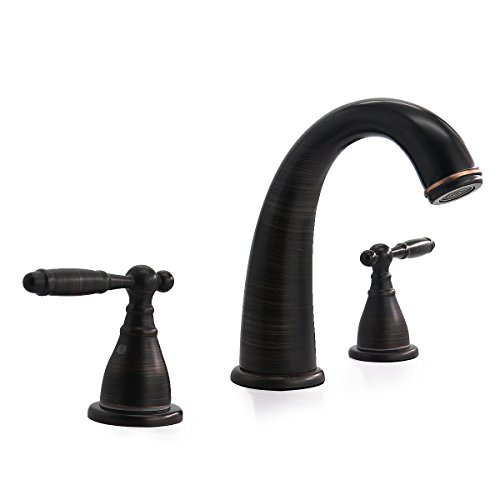 RAINMAX Bathroom Faucet with Two-Handle Three Holes Low-Arch Widespread Oil Rubbed Bronze Solid Brass Antique Without Valve Ideal for bathroom Vanity Lavatory UPC NSF AB1953 Compliant (Vintage Iii Widespread Faucet)