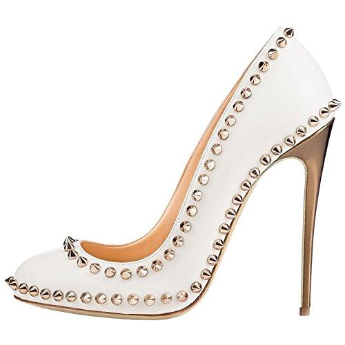 Arc-en-Ciel los zapatos de las mujeres de las bombas de tacón alto punta redonda del remache Blanco