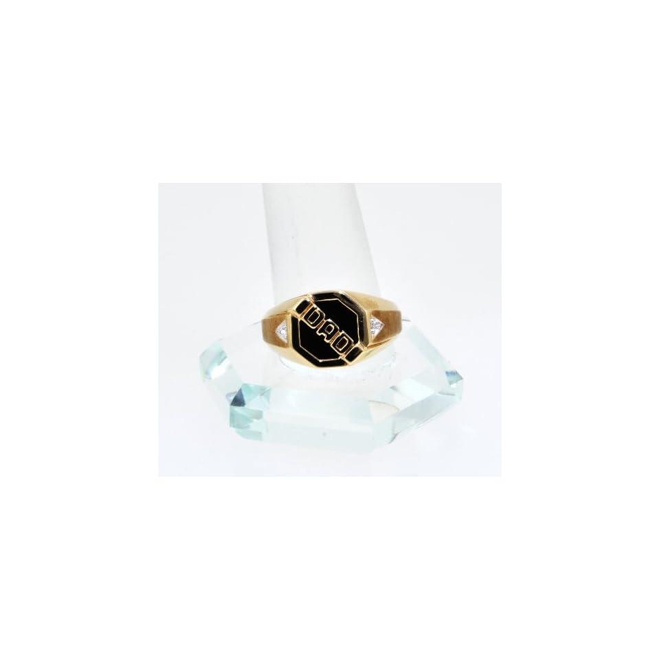 10K Yellow Gold Diamond/Onyx Dad Ring