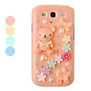 conseguir Plastic Zircon del oso y de la flor del caso del patrón del cuerpo para Samsung Galaxy S3 I9300 (colores surtidos) , Verde