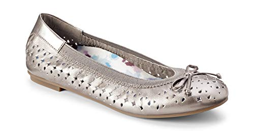 Vionic Women's Spark Surin Ballet Flat - Ladies Flats with Concealed Orthotic Arch Support Pewter 7.5W