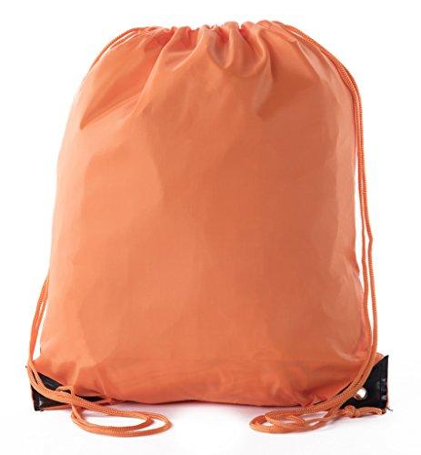 Mato & Hash Basic Drawstring Tote Cinch Sack Promotional Backpack Bag - 10PK Orange CA2500 - 2