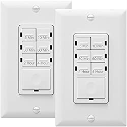 Enerlites HET06 Countdown Timer Switch, Fan Switch Timer, Wall Timer Switch, Light Timer Switch, Bathroom Timer Switch, 5 min – 4 hrs, Night Light LED Indicator, NEUTRAL WIRE REQUIRED,White, 2-Pack