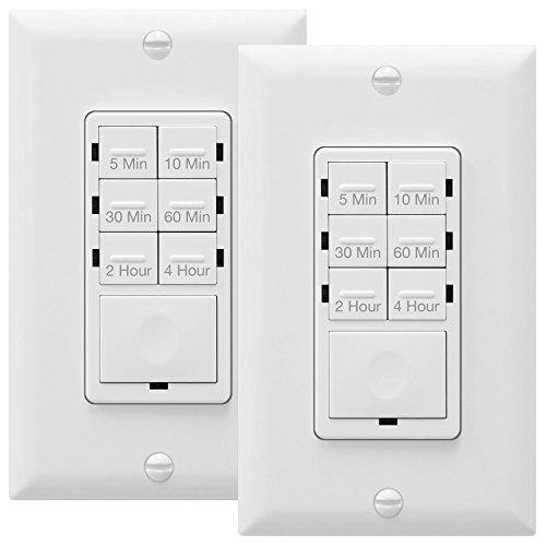 ENERLITES Countdown Timer Switch, Fan Switch Timer, Wall Timer Switch, Light Timer Switch, Bathroom Timer Switch, 5 min - 4 hrs, Night Light LED Indicator, Neutral Wire Required, HET06, White, 2-Pack