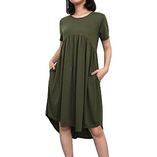 Coolred-femmes Baggy Style De Couleur Unie À Manches Courtes Poche O-cou T-shirt Vert De L'armée Robe
