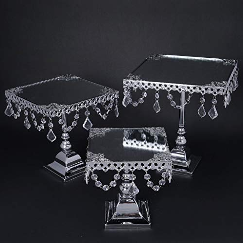 Efavormart Set of 3 Silver Square Mirror Top