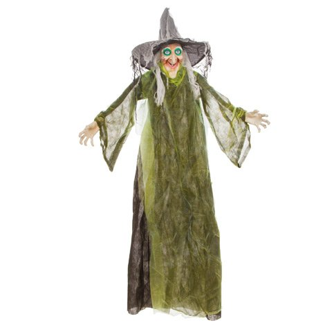 (Halloween Animated Standing Witch w Turning Head Decoration 5ft)