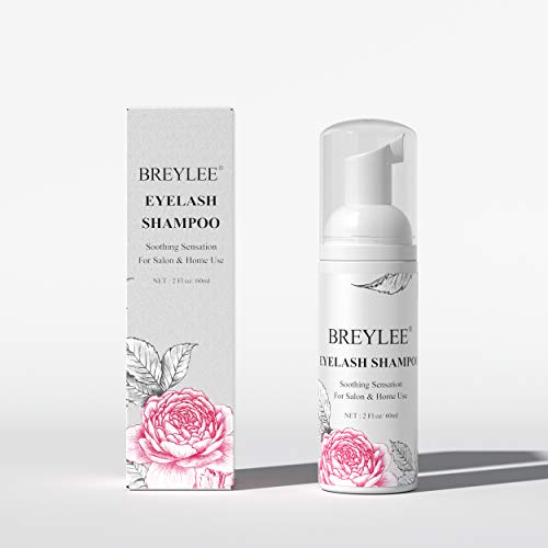 Eyelash Extension Cleanser, BREYLEE Eyelash Extension Shampoo Eyelash Extension Foam & Brushes Eyelid Cleanser for Makeup Remover Paraben & Sulfate & Oil Free for Salon and Home Use(60ml, 2 fl oz)