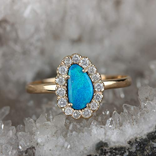 Real Natural 0.25 Ct Boulder Opal Ring Pave Slice Diamond Solid 14k Yellow Gold Handmade Fine Jewelry Women
