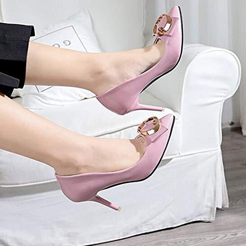 Verni Femmes Les Cuir Pour Talons En Carre Pointu De Escarpins Marie Bout Boucle Chaussures Mtal Rose HwnxxP7