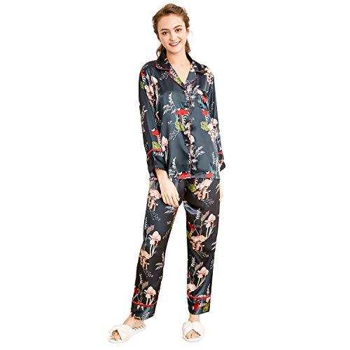 (Belle Heure Women's Pajamas Set Long Sleeve Silky Satin Classic Floral Pj Set )