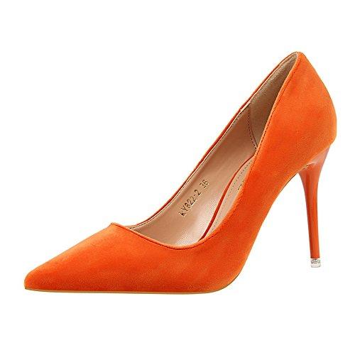 Manyis Dame Nieuwe Mode Ondiep Suede Stiletto Puntschoen Schoenen Dames Hoge Hakken Pumps Kleur Oranje Maat: 6