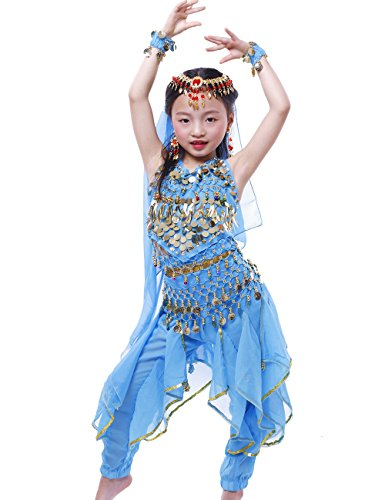 Costumes Belly Little Dancing For Girls (Astage Girls Oriental Belly Dance Sets Costumes All accessories Sky Blue S(Fits 3-5)