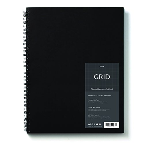 Wire Reinforced - Vela Advanced Wirebound Laboratory Notebook / 9 x 11.75 inches / 144 Pages / Reinforced Double Wire Binding / Wear-Resistant Nylon Coated Cover / 105gsm Heavyweight Paper (Grid)