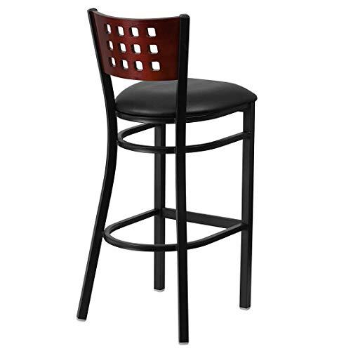 Modern Style Metal Dining Bar Stools Pub Lounge Restaurant Commercial Seats Mahogany Wood Cutout Back Design Black Powder Coated Frame Finish Home Office Furniture - Set of 2 Black Vinyl Seat #2207 by KLS14 (Image #3)