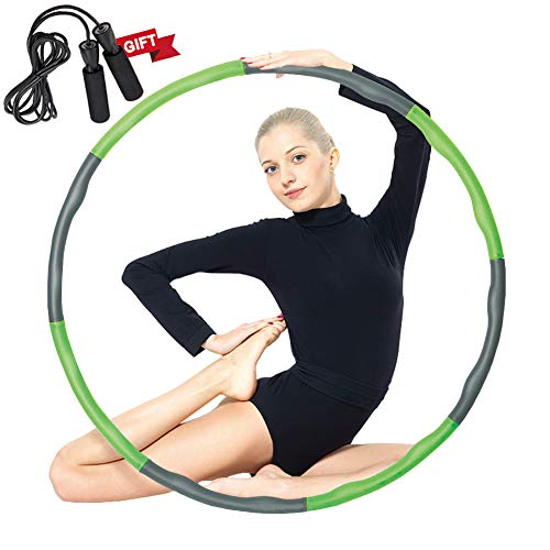 Auoxer Fitness Exercise Weighted Hula Hoop, Lose Weight Fast by Fun Way to Workout, Fat Burning Healthy Model Sports Life, Detachable and Size Adjustable Design (Weighted Hoop Hula 42)